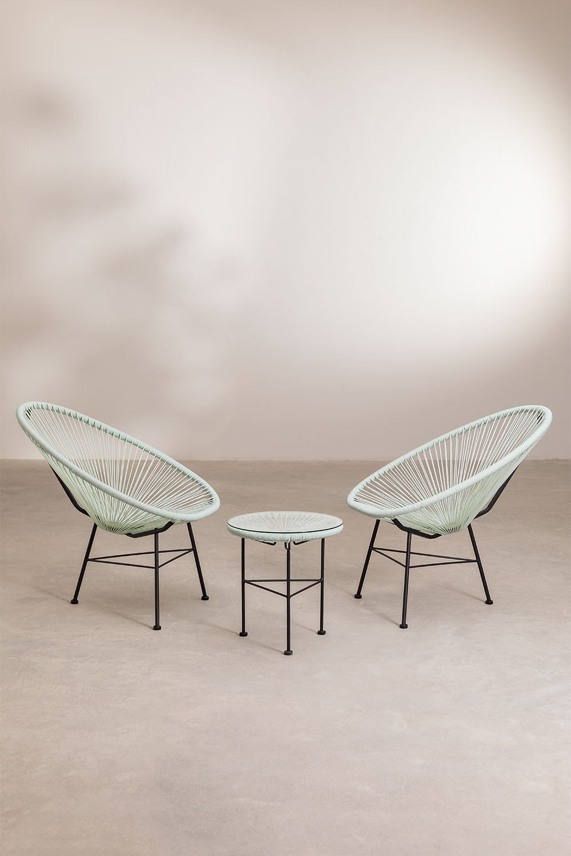 Set 2 Stühle & 1 Tisch aus Polyethylen und Stahl New Acapulco, Galeriebild 1