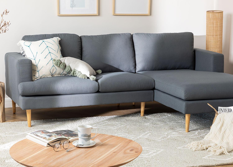 Chaise Longue Sofa 3 Sitze in Arnold Fabric, Galeriebild 1