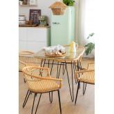 Zenta Rattan Esstisch und 4 Stühle Set, Miniaturansicht 1
