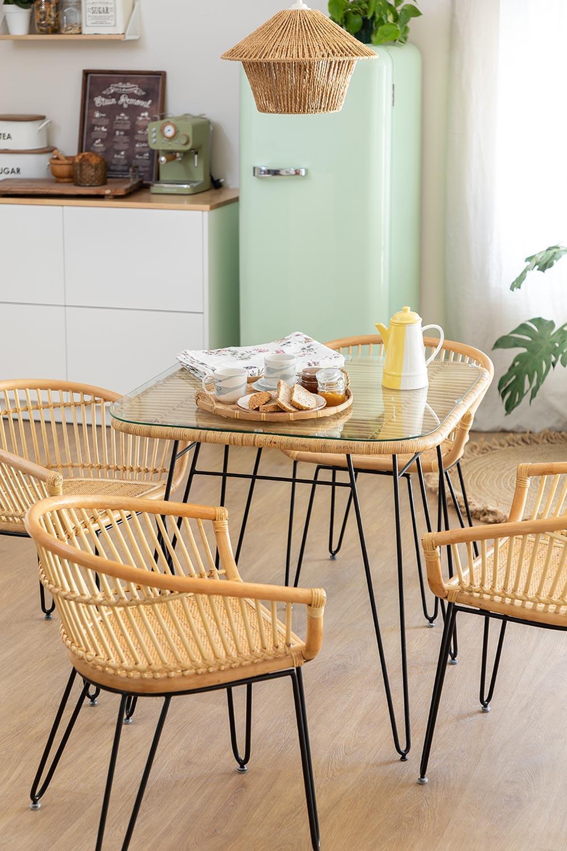 Zenta Rattan Esstisch und 4 Stühle Set, Galeriebild 1