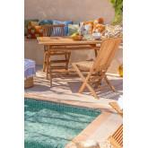 Gartenset Rechteckiger Tisch und 2 Klappstühle aus Pira Teakholz , Miniaturansicht 1