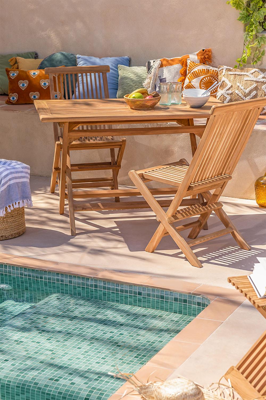Gartenset Rechteckiger Tisch und 2 Klappstühle aus Pira Teakholz , Galeriebild 1