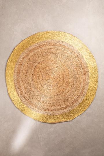 Natürlicher Dagna Jute Teppich (Ø150 cm) Metallic