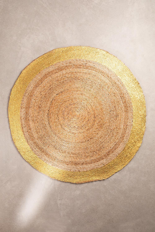 Natürlicher Dagna Jute Teppich (Ø150 cm) Metallic, Galeriebild 1