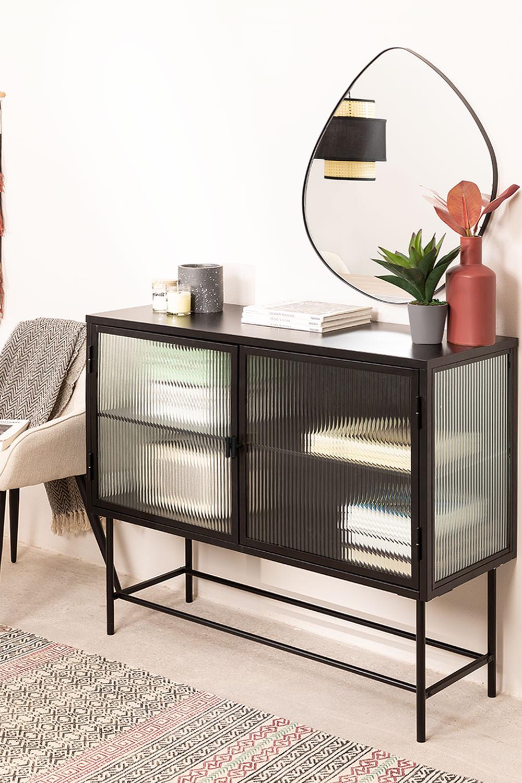 Vertikales Sideboard aus Metall und Glas, Galeriebild 1