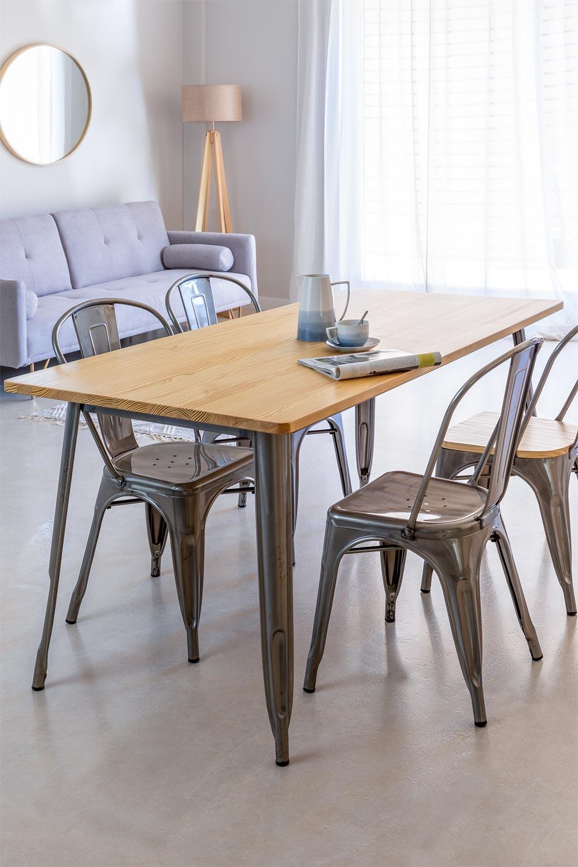 LIX Tisch aus gebürstetem Holz (160x80 cm), Galeriebild 1