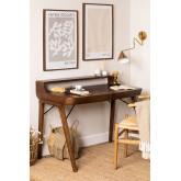 Alvar Wood Desk mit Schubladen, Miniaturansicht 1