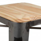 Hoher Hocker aus Stahl LIX Gebürstetes Holz, Miniaturansicht 4