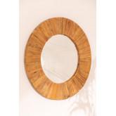 Runder Wandspiegel aus recyceltem Holz (Ø100 cm) Rand, Miniaturansicht 2