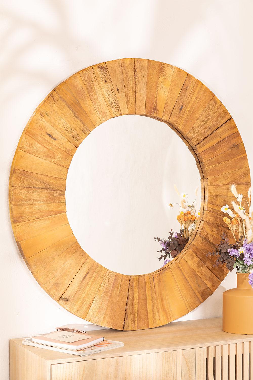 Runder Wandspiegel aus recyceltem Holz (Ø100 cm) Rand, Galeriebild 1