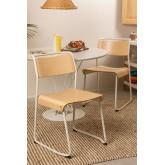 Stuhl aus Metall und Eichenholz Viki, Miniaturansicht 1