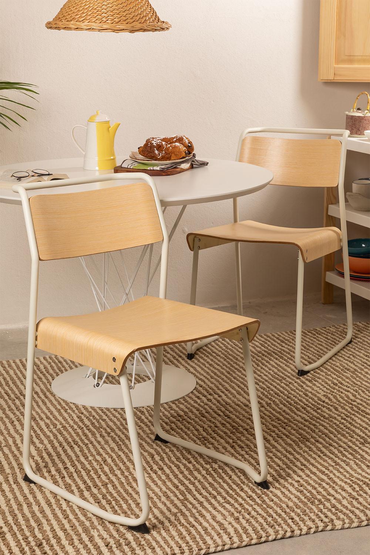 Stuhl aus Metall und Eichenholz Viki, Galeriebild 1
