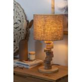 Tischlampe aus Leinen und Holz Olga, Miniaturansicht 2