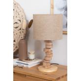 Tischlampe aus Leinen und Holz Olga, Miniaturansicht 1