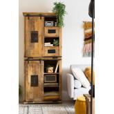 Kleiderschrank mit 2 Schiebetüren aus Uain-Holz, Miniaturansicht 1