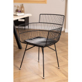 Metallstuhl mit quadratischen Armlehnen, Miniaturansicht 1