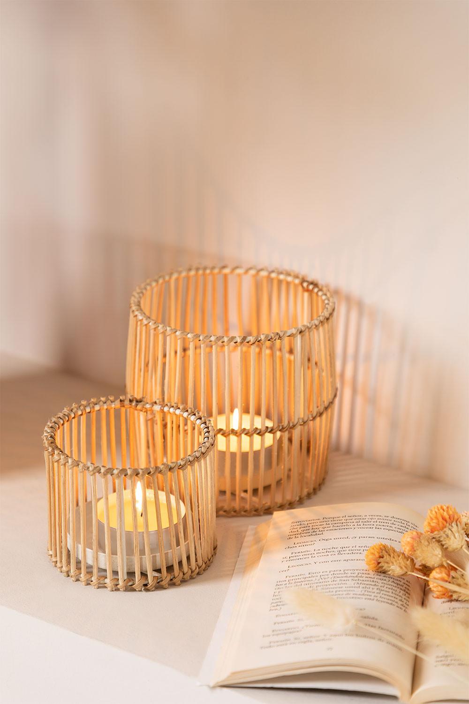 Set mit 2 Almers Rattan Kerzenhaltern, Galeriebild 1