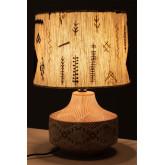 Agra Holz und Stoff Tischlampe, Miniaturansicht 4