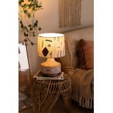 Agra Holz und Stoff Tischlampe, Miniaturansicht 2