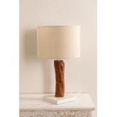 Tischlampe aus Stoff und Lobra Holz, Miniaturansicht 2