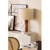 Tischlampe aus Stoff und Lobra Holz, Miniaturansicht 1