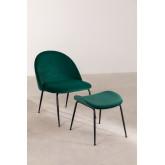 Kana Velvet gepolsterter Sessel mit Fußstütze, Miniaturansicht 1