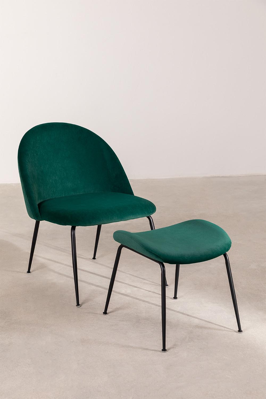 Kana Velvet gepolsterter Sessel mit Fußstütze, Galeriebild 1