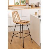 Hoher Stuhl aus synthetischem Rattan aus natürlichem Gouda, Miniaturansicht 1