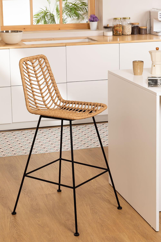 Hoher Stuhl aus synthetischem Rattan aus natürlichem Gouda, Galeriebild 1