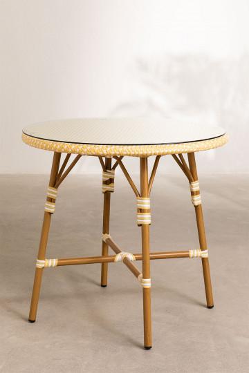 Runder Gartentisch aus synthetischem Korbgeflecht (Ø80 cm) Alisa