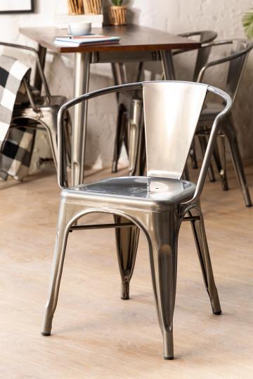 Stuhl mit Armlehnen LIX gebürstet
