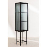 1 Tür Vitrine aus Metall und vertikalem Glas, Miniaturansicht 3