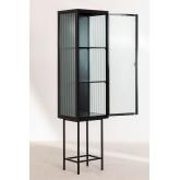 1 Tür Vitrine aus Metall und vertikalem Glas, Miniaturansicht 4
