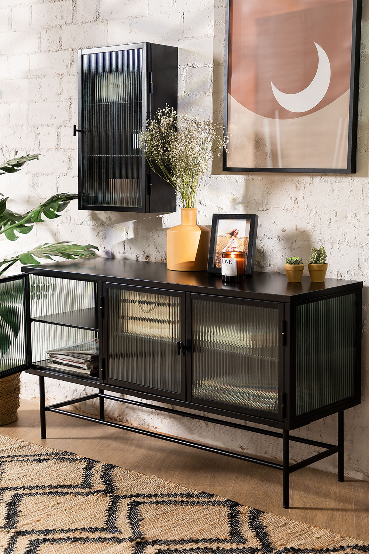 Vertikaler Fernsehschrank aus Metall und Glas, Galeriebild 1