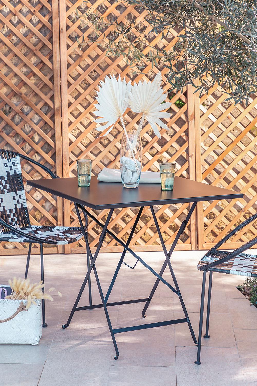 Klappbarer Gartentisch aus Stahl (77x77 cm) Dreh, Galeriebild 1