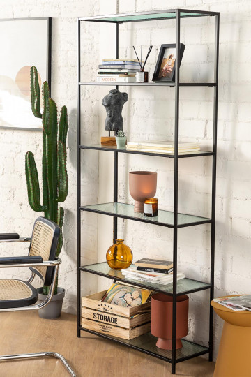 5 Regale Regale aus Metall und vertikalem Glas