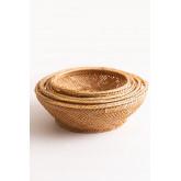 Pack mit 4 dekorativen Tellern aus Bambus Murwa, Miniaturansicht 2