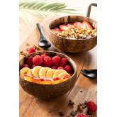 Set mit 2 Kokosnussschalen und 2 Insellöffeln, Miniaturansicht 1