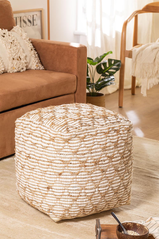 Viereckiger Pouf aus Finx-Baumwolle , Galeriebild 1