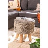 Rixar Niedriger runder Hocker aus Wolle und Holz , Miniaturansicht 1