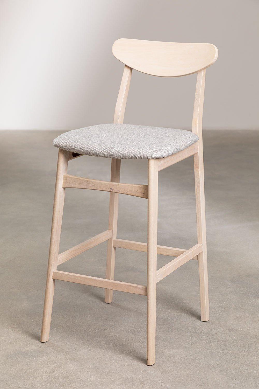 Hoher Hocker aus Stoff und Cloda-Holz, Galeriebild 1