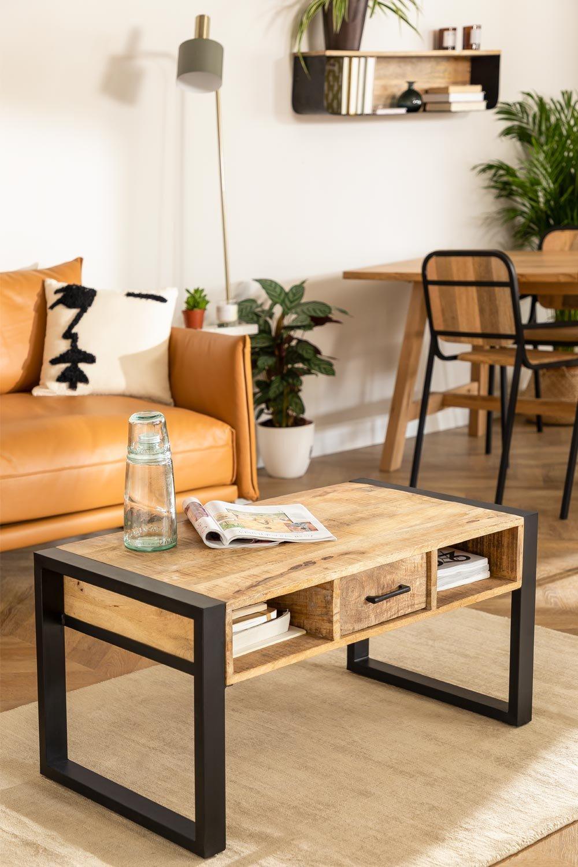 Keblar Couchtisch aus recyceltem Holz  (90x45 cm) , Galeriebild 1