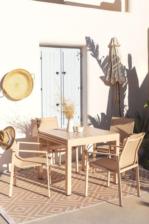Pack Ausziehbarer Tisch im Freien (90 cm - 180 cm) Starmi & 4 Eika Outdoor Stühle, Galeriebild 1