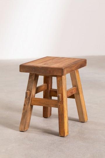 Niedriger Hocker aus recyceltem Holz Roblie