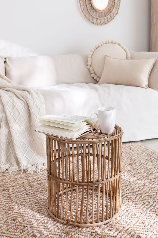 Runder Qamish Beistelltisch aus Bambus, Galeriebild 1