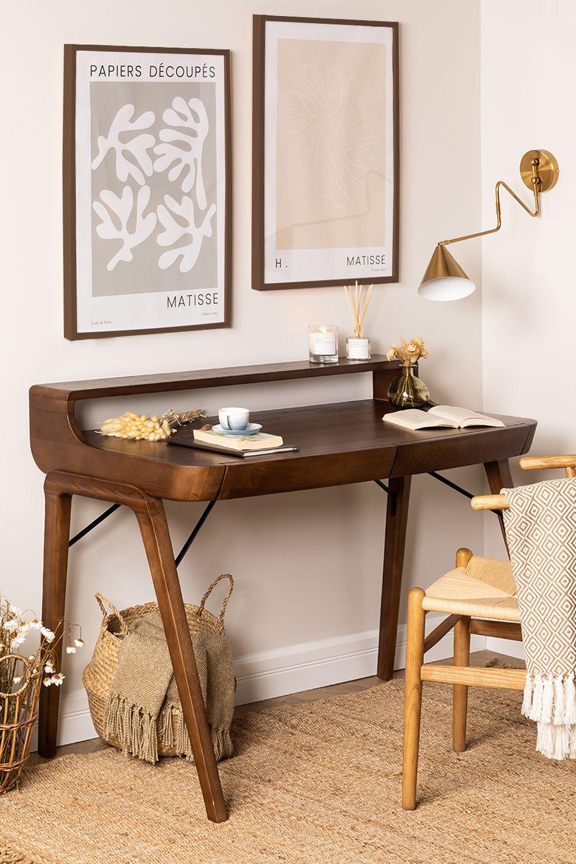 Alvar Wood Desk mit Schubladen, Galeriebild 1