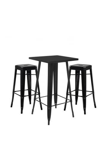 Stellen Sie High Table LIX & 2 High Stools LIX ein