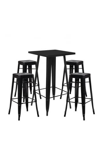 Stellen Sie High Table LIX & 4 High Stools LIX ein