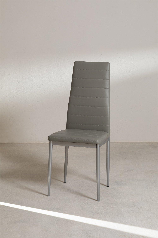 Tiggy Esszimmerstuhl aus Kunstleder und Stahl, Galeriebild 1