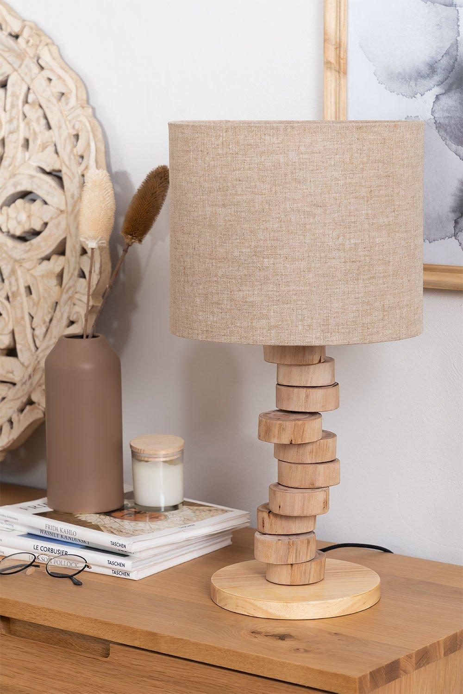 Tischlampe aus Leinen und Holz Olga, Galeriebild 1